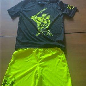 Youth size 7 UA drifit outfit